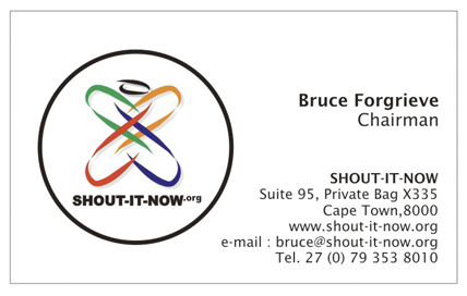 Shoutitnow.org business card image